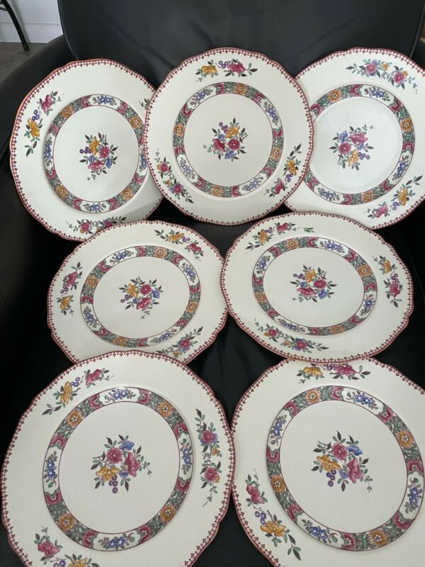 """Copeland Spode NIGEL Floral Hand Tinted 10.5"""" Dinner Plates CLEAN Set of 7"""
