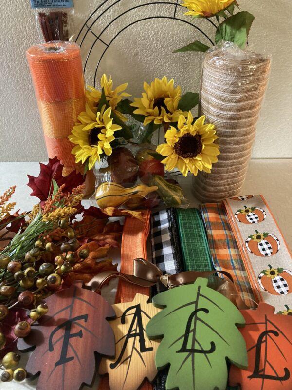 "FALL DIY wreath kit 10"" Deco Mesh & Jute Leaves Wood Sign Pumpkins Berries NEW"