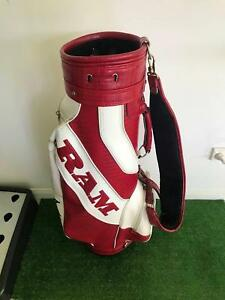 "VINTAGE RAM GOLF FX 8.5"" FAUX LEATHER STAFF GOLF BAG USED Q4128"