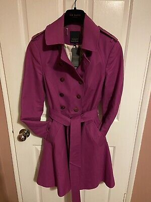 TED BAKER Fuchsia Magenta Orchid Pink Mauve Rain Belted coat 4, Size...