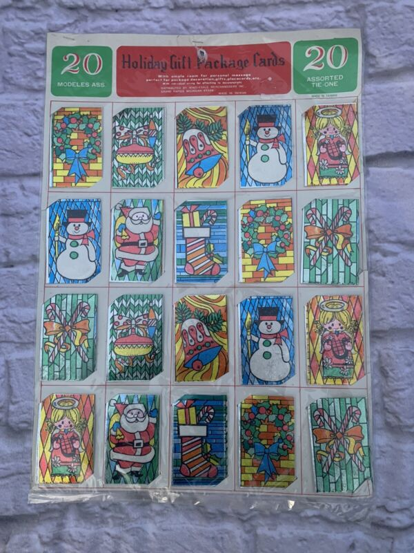 Vintage 3-D HOLIDAY GIFT PACKAGE CARDS set of 20 Assorted TIE-ONS Christmas