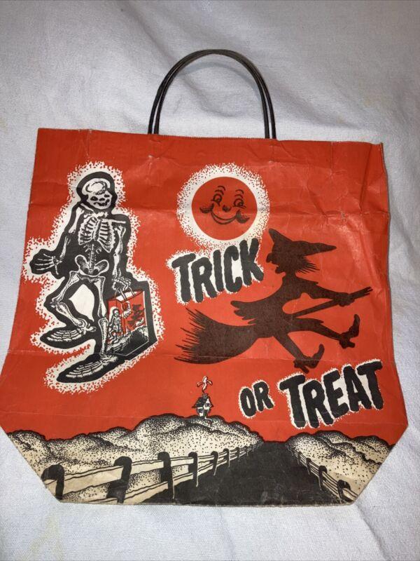 Vtg Halloween TRICK-OR-TREAT BAG paper shopping bag USA Orange Black witch