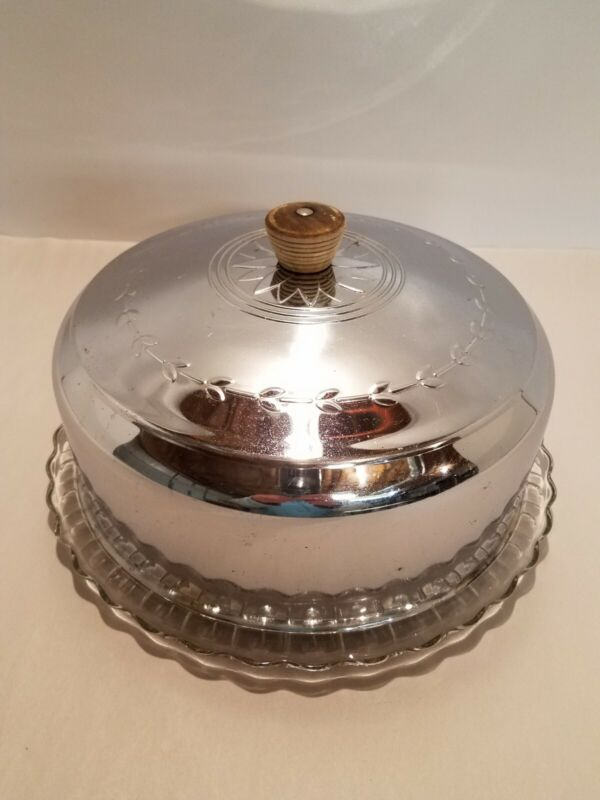 Vintage Aluminum Cake Cover Saver and Glass Plate