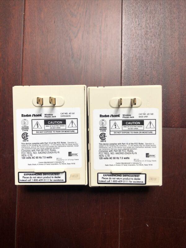 Set of 2 Radio Shack 43-160 & 43-161 Wireless Phone Jack System