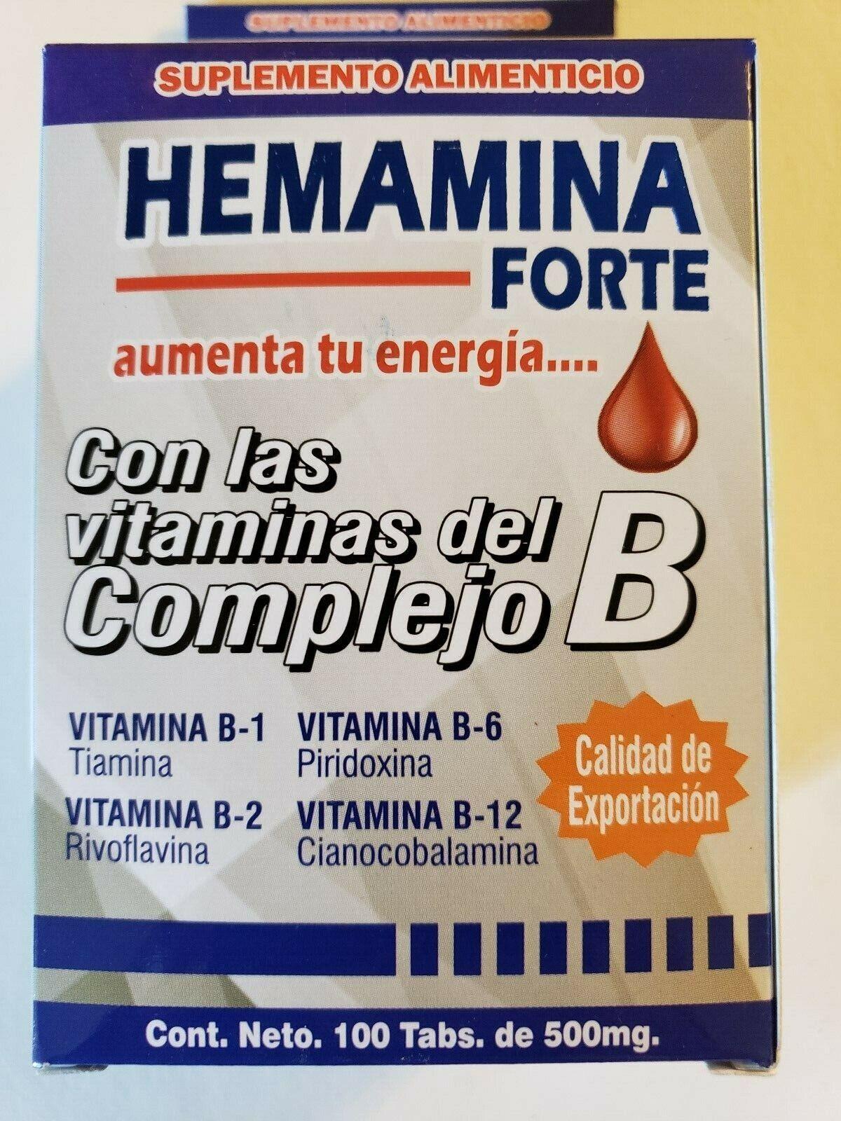 HEMAMINA FORTE ENERGY BOOSTER/ COMPLEJO B ENERGIZANTE 100 TABLETAS 500MG.