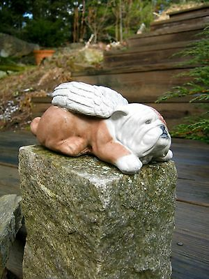 Bulldog Angel Statue, Concrete Dog Garden Figure, Painted Cement Pet Memorial