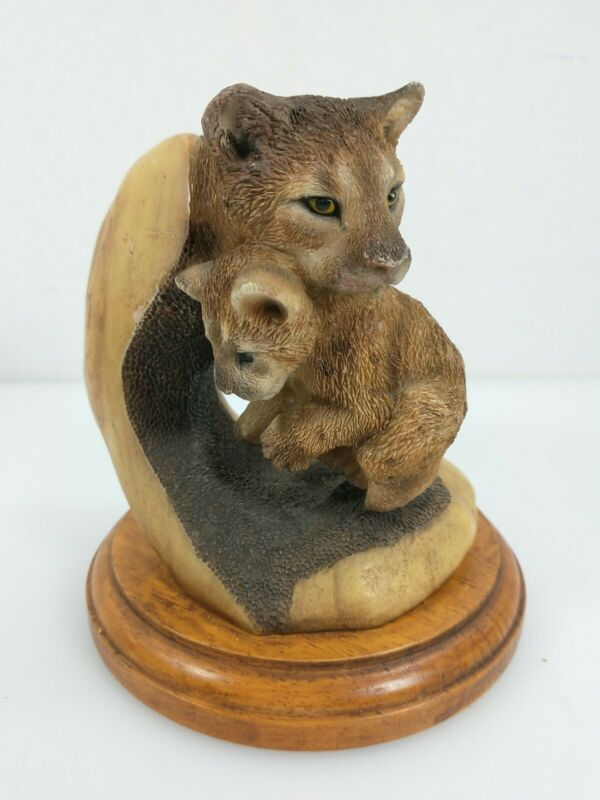 Mill Creek Studios ~ Mouthful ~ Mama Baby Cougar Figurine ~ Beautiful Sculpture!