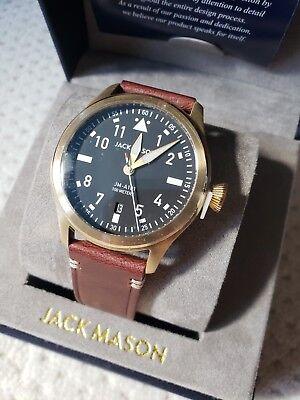 NIB Jack Mason Aviators Watch 42mm gold tone JM-A101-206