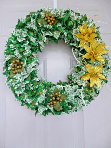 "Classic Green Fabric Wreath on Straw Base 17""; Gold Poinsettias; Metallic Thread"