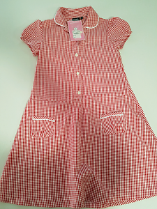 Girls red/white gingham school dress, age 7 Port Kennedy Rockingham Area Preview