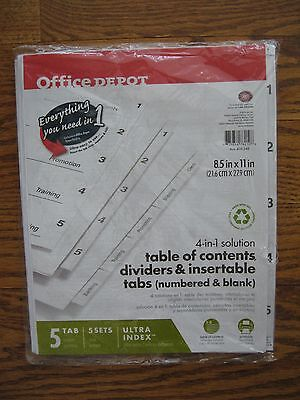 Office Depot 4-in-1 Solution Table Of Contents Dividers Tabs - Lot Of 4
