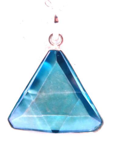 Beautiful, Brasilian Aqua Aura Gemstone Star of David Necklace