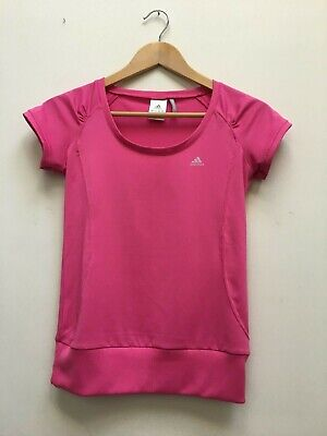 Adidas Ladies Pink Clima365 Sports Tee Womens Gym Running T-Shirt Top Size 8 for sale  Shipping to Nigeria
