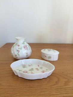 3 Piece Wedgewood Bone China Rose Hip Dressing Table Accessory Se