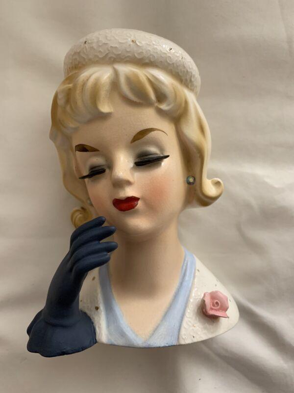 """Vintage UCAGCO """"Pillbox Hat"""" Lady Headvase / Head Vase"""