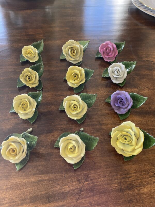 12 Herend Porcelain Rose Flower Place Card Holders