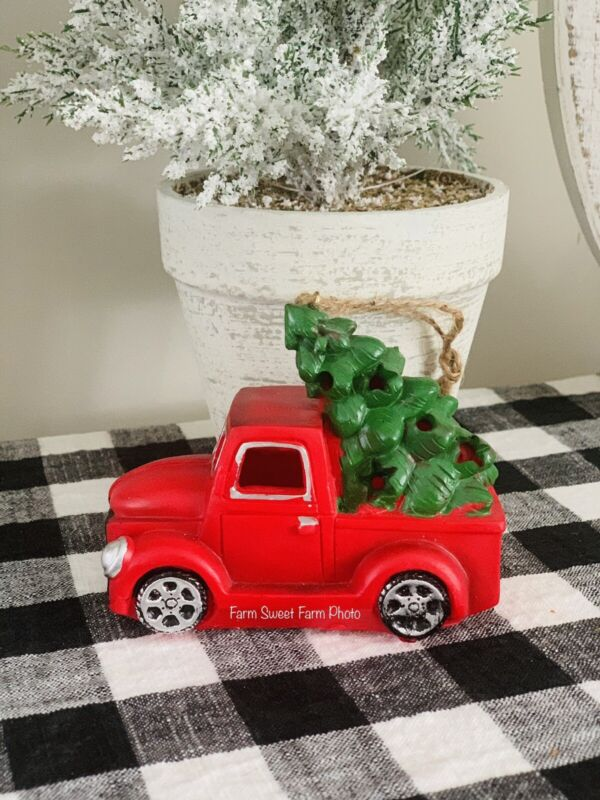 """Farmhouse Little Red Truck Christmas Tree Ornament 4.5"""" Light Up Tier Tray Decor"""
