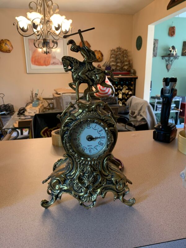 Vintage Ornate Brass French Mantle Clock