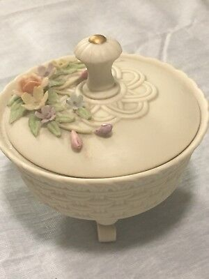 Lefton Ceramic Candy Bowl with Lid 3D Flowers on Lid Vintage Antique Ivory EUC