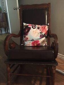 Antique leather rocking chair and table