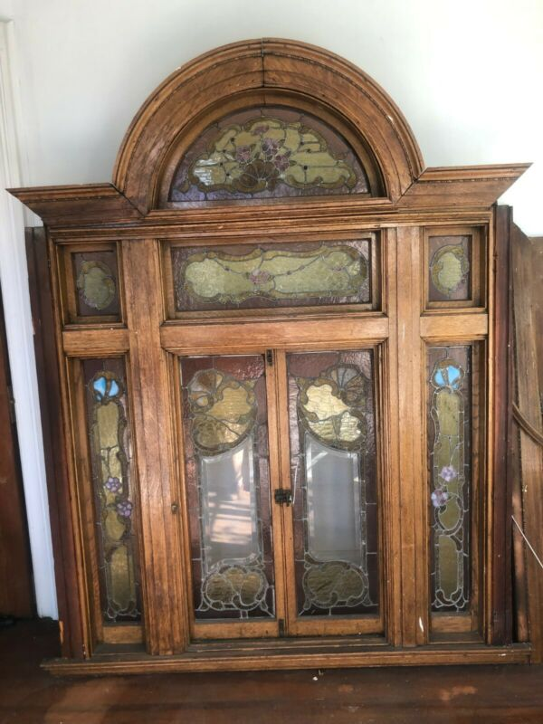 "Beautiful Stained Glass Leaded Window, Victorian with Wood Frame 63"" x 85"""