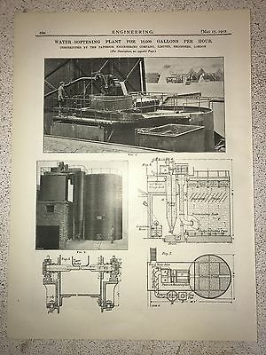 Water Softening Plant: 10,000 Gallons Per Hour: 1912 Engineering Magazine Print