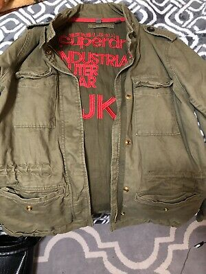 Superdry Men's Rookie Military Field Jacket Green Slim Fit Small NWOT