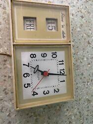 Vintage Yellow Westclox Time 'N Date Electric Flip Wall Clock Yellow Model S 37