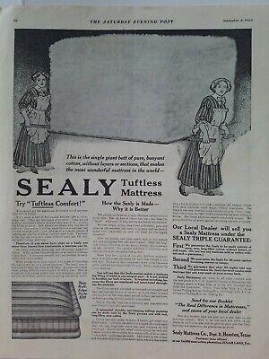 1910 Sealy Tuftless Sanitario Cama Colchón Vintage Original Anuncio