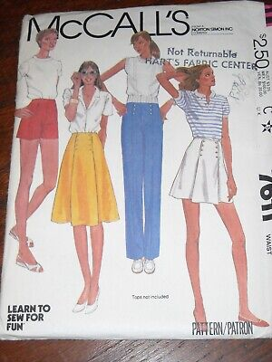 🌼McCALL'S 7611-LADIES 70s STYLE BUTTONED SAILOR PANTS-SHORTS-SKIRT PATTERN 16FF (70s Ladies)