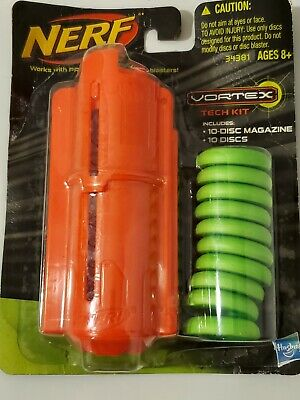 hasbro nerf vortex tech kit w/an orange magazine  and ten green discs nip