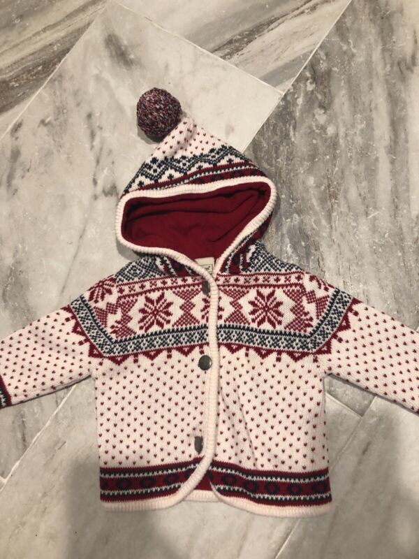 LL Bean Baby Hooded Sweater Jacket Fair Isle Nordic Red Size 6-12 Months