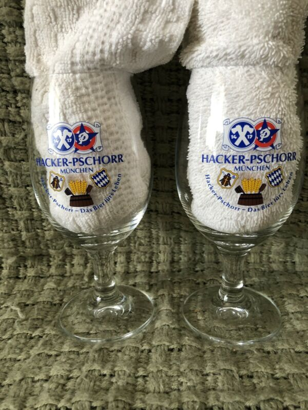Hacker-Pschorr Beer/Wine Glasses Rastal W. Germany .25L Set of 2