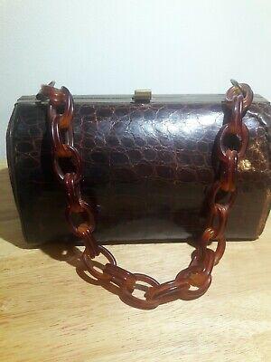 1950s Handbags, Purses, and Evening Bag Styles Vintage Sterling Handbag Co Alligator Leather Purse 1950s Lucite Chain Handle $22.99 AT vintagedancer.com