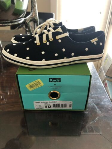 New In Box Girls Kate Spade X Keds Champ Seasonal Black Dot