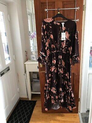 Johanna Ortiz x H&M dark brown wild roses Flounced Crepe Dress. Midi Size XL