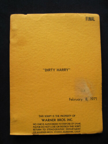 ORIGINAL SCRIPT for DIRTY HARRY by HJ FINK & DEAN RIESNER -  CLINT EASTWOOD Film