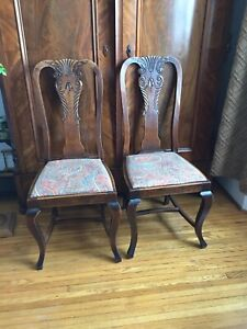 4 or 6 Reduced! Antique carved wooden dining room  chairs
