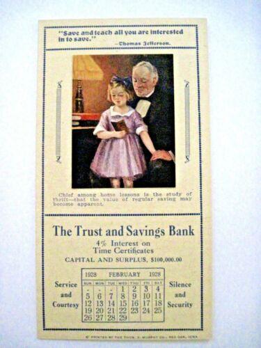 "Feb.1928 Advertising Calendar Brochure ""The Trust & Savings Bank"" w/ Quotes  *"