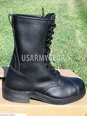 New Black Leather Steel Toe Motorcycle Combat US Military Safety Biker