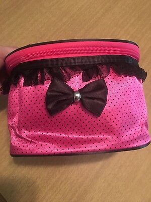 **BRAND NEW**Makeup Multipurpose Bag Hot Pink Polka Dot Mirror Paint Travel Kit