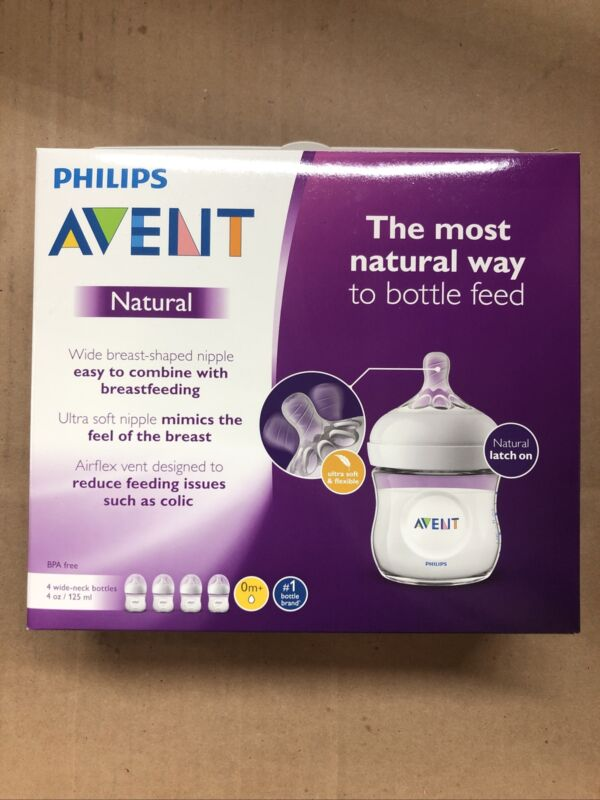 PHILIPS AVENT Natural Baby Bottles Clear 4-Pack 4 Oz Clear SCF010/47