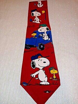 1960s – 70s Men's Ties | Skinny Ties, Slim Ties Vintage Snoopy Woodstock Peanuts Joe Golfer Silk red neck tie 1960s Golfing $4.99 AT vintagedancer.com