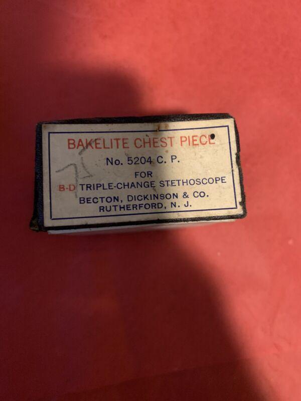 becton dickinson stethoscope bakelite chest piece new old stock