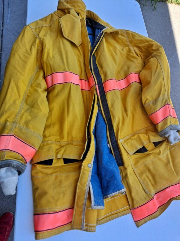 48x40 Globe Firefighter Brown Turnout Jacket Coat with Yellow Tape