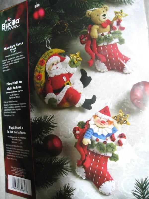 Christmas Bucilla Felt Applique Holiday Ornament Craft Kit,MOONLIGHT SANTA,85461