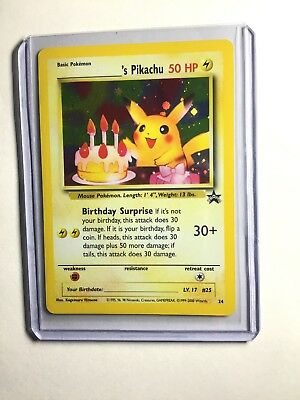NM+ Pokemon _'s HAPPY BIRTHDAY PIKACHU Card BLACK STAR PROMO Set #24 Holo - Birthday Pikachu