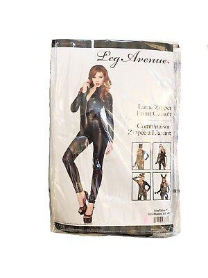 LEG AVENUE 85047 LAME ZIPPER FRONT CATSUIT ADULT HALLOWEEN COSTUME CATWOMAN SMAL
