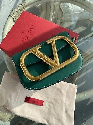 Brand New Valentino Garavani Green Supervee Calfskin Crossbody Bag