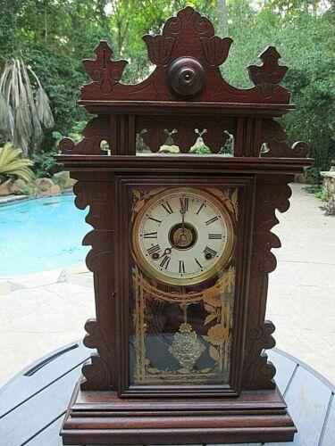 Antique E. N. Welch 1800s Walnut kitchen clock